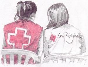dibuix creu roja dos noies